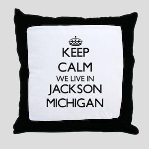 Keep calm we live in Jackson Michigan Throw Pillow