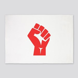 Red Power Fist 5'x7'Area Rug