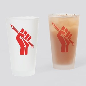 Red Writer Power Drinking Glass