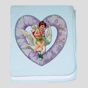 """A Token Of Love"" Purple Satin Heart baby blanket"