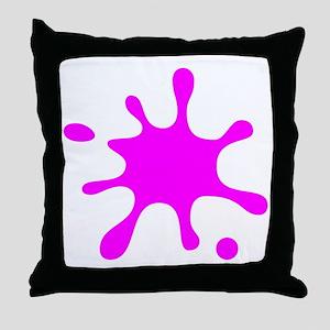 Pink Splatter Throw Pillow