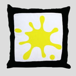 Yellow Splatter Throw Pillow