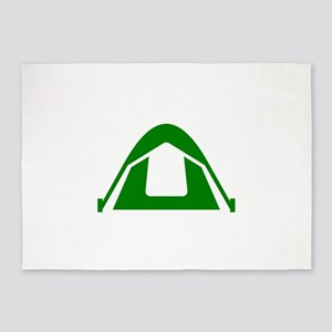 Green Camping Tent 5'x7'Area Rug