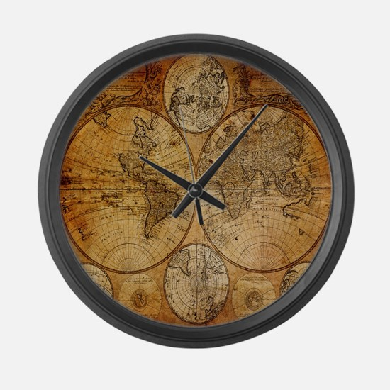 voyage compass vintage world map Large Wall Clock
