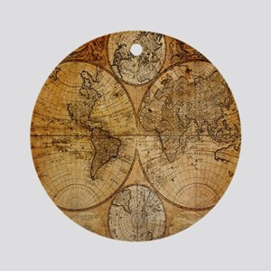 voyage compass vintage world map Ornament (Round)