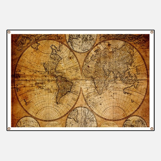 voyage compass vintage world map Banner