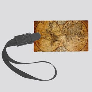 voyage compass vintage world map Large Luggage Tag