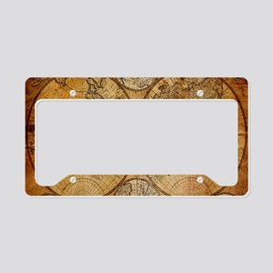 voyage compass vintage world License Plate Holder
