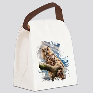 Painting Owl Canvas Lunch Bag