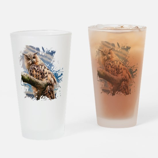 Painting Owl Drinking Glass