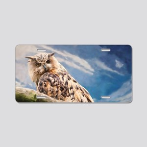 Painting Owl Aluminum License Plate