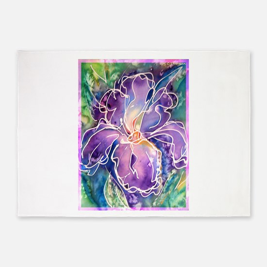 Iris! Beautiful, purple flower, 5'x7'Area Rug