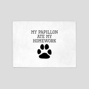 My Papillon Ate My Homework 5'x7'Area Rug