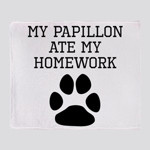 My Papillon Ate My Homework Throw Blanket