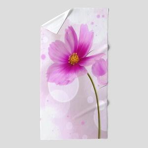 Pink Cosmos Flower Beach Towel