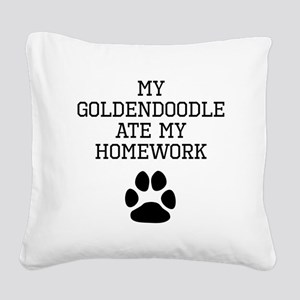 My Goldendoodle Ate My Homework Square Canvas Pill