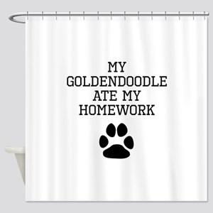 My Goldendoodle Ate My Homework Shower Curtain