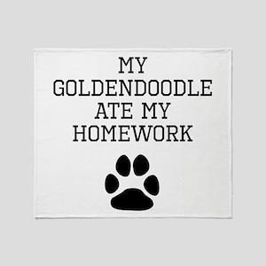 My Goldendoodle Ate My Homework Throw Blanket