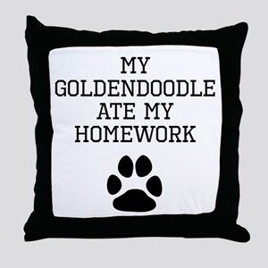 My Goldendoodle Ate My Homework Throw Pillow