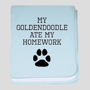My Goldendoodle Ate My Homework baby blanket