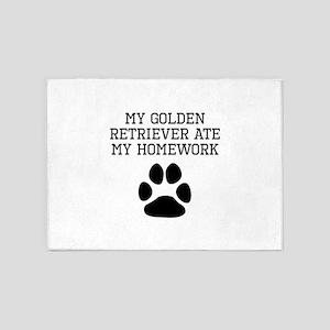 My Golden Retriever Ate My Homework 5'x7'Area Rug