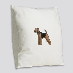 airdale terrier dog breed Burlap Throw Pillow