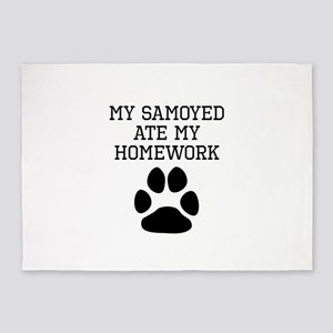 My Samoyed Ate My Homework 5'x7'Area Rug