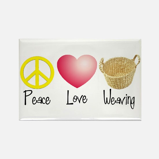 Peace, Love, Weaving Rectangle Magnet