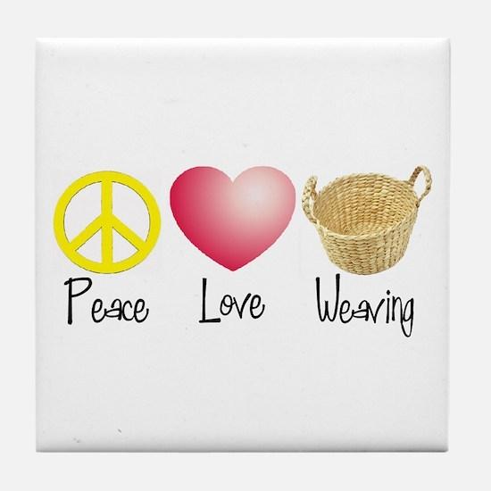 Peace, Love, Weaving Tile Coaster