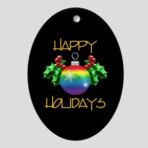 Happy Holidays Rainbow Gift Oval Ornament
