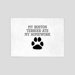 My Boston Terrier Ate My Homework 5'x7'Area Rug