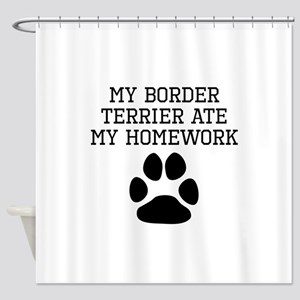 My Border Terrier Ate My Homework Shower Curtain