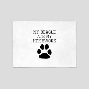 My Beagle Ate My Homework 5'x7'Area Rug
