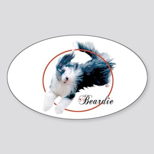Bearded Collie Cameo Oval Sticker
