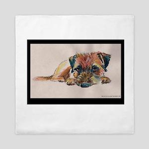 Sleepy Border Terrier Queen Duvet