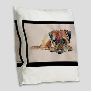 Sleepy Border Terrier Burlap Throw Pillow
