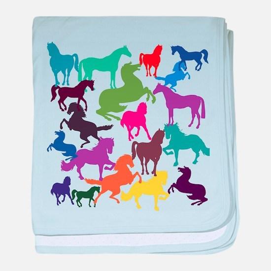 Rainbow Horses baby blanket