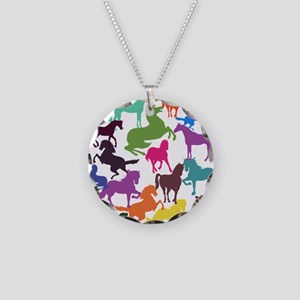 Rainbow Horses Necklace Circle Charm