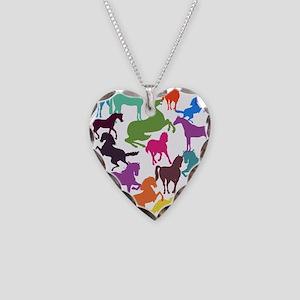 Rainbow Horses Necklace Heart Charm