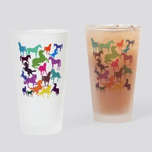 Rainbow Horses Drinking Glass