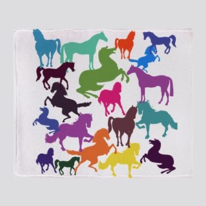Rainbow Horses Throw Blanket