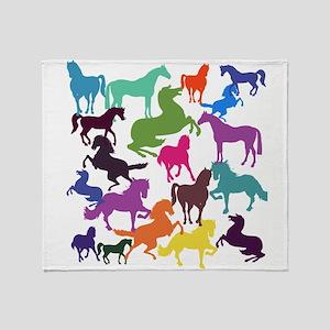 Rainbow Horses Throw Blanket