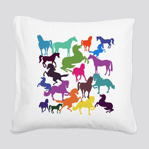 Rainbow Horses Square Canvas Pillow