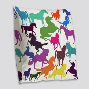 Rainbow Horses Burlap Throw Pillow