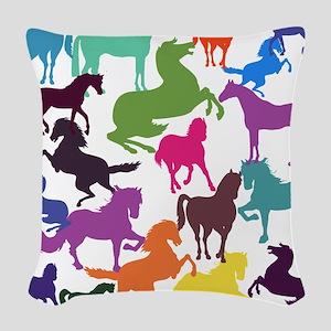 Rainbow Horses Woven Throw Pillow