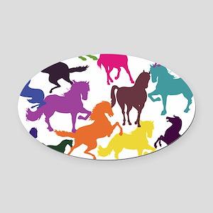 Rainbow Horses Oval Car Magnet