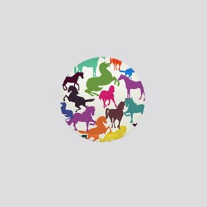 Rainbow Horses Mini Button