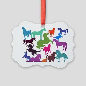 Rainbow Horses Picture Ornament