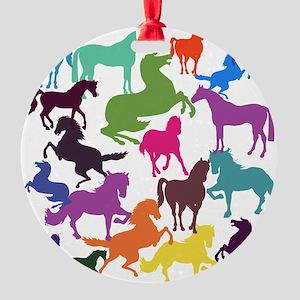 Rainbow Horses Round Ornament