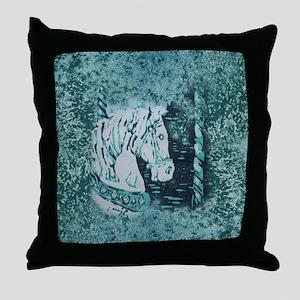 Carousel Horse Aquamarine Throw Pillow